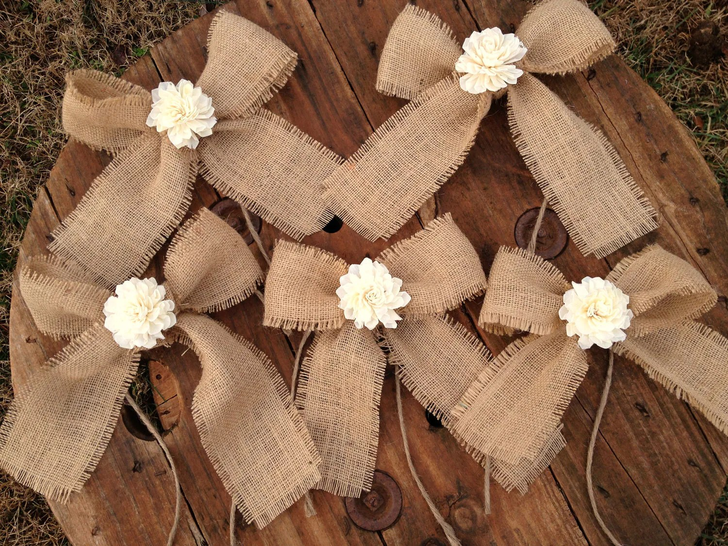 burlap bows for wedding chairs hickory chair dallas design center sola flower shabby chic decor