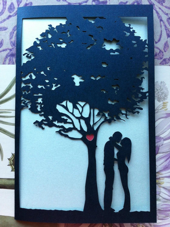 Laser Cut Wedding Invitation Love Story Tree Invitation