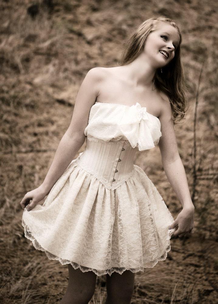 Romantic Short Lace Wedding Dress Corset by LaBelleFairy on Etsy