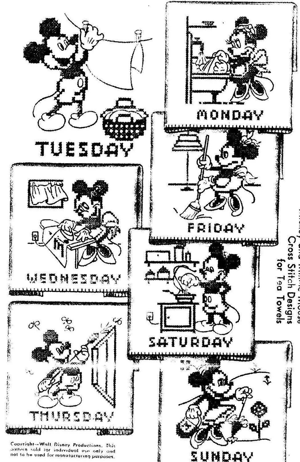 Mickey Mouse Cross Stitch Days of the Week Hand Embroidery