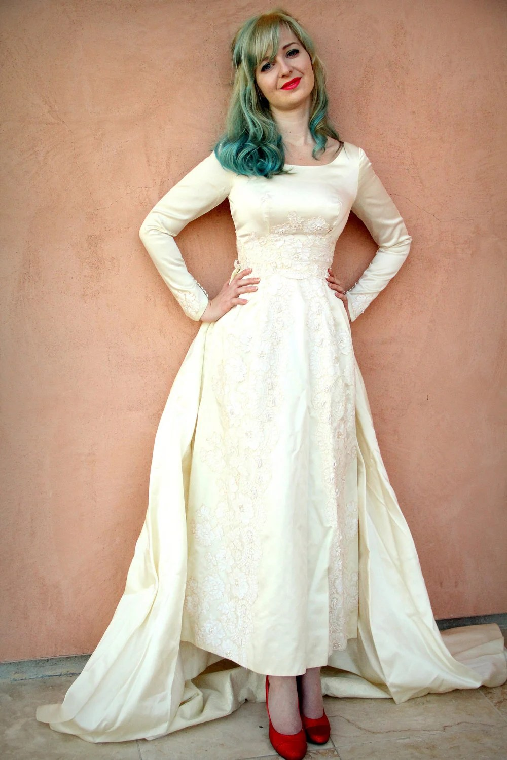 Vintage 50s Wedding Dress in Dutchess Silk Satin by