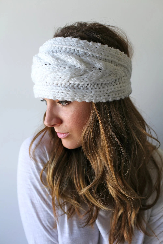 Knitted Bow Headband Winter