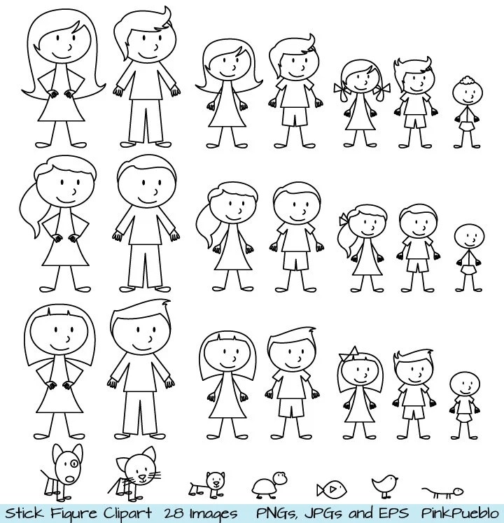 Stick Figure Clipart Clip Art Stick People Family and Pets