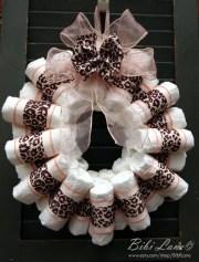 pink leopard print diaper wreath