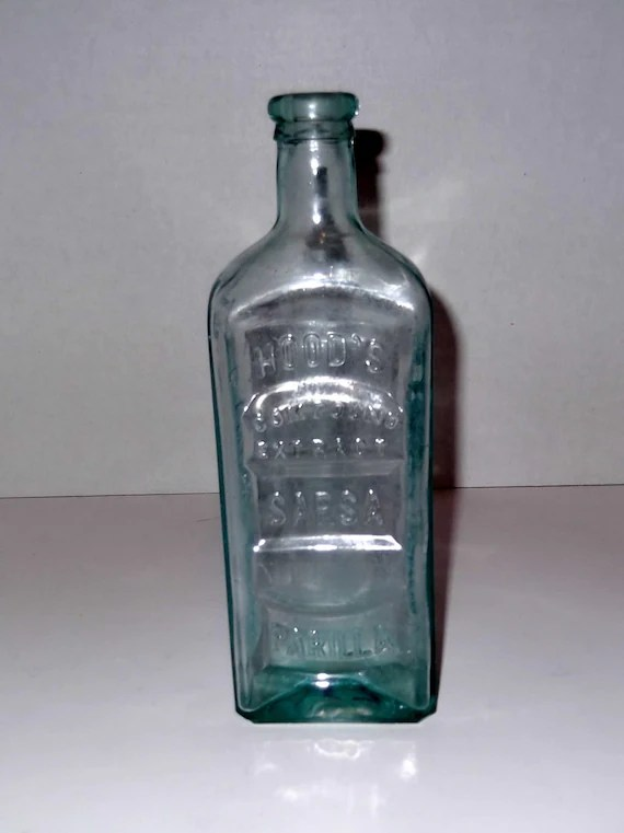 Antique Glass Bottle Hoods Sarsaparilla Bottle