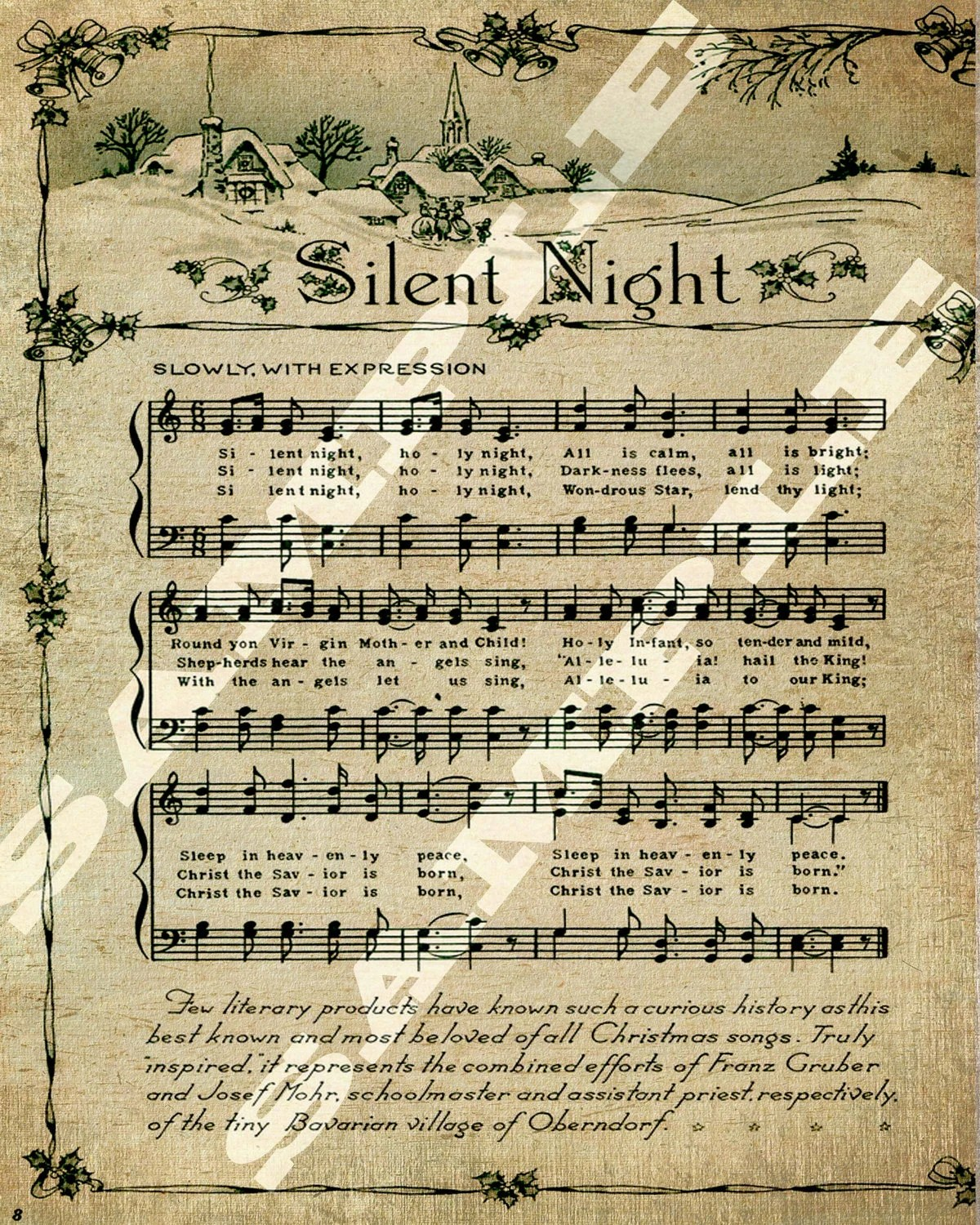 image regarding Free Printable Vintage Christmas Sheet Music known as No cost Printable Common Xmas New music - 12 months of Contemporary Drinking water