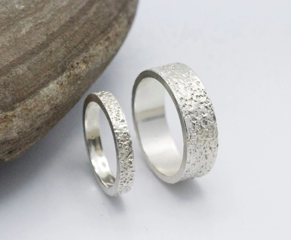 Wedding ring set 14k White Gold Textured Wedding Ring Unique