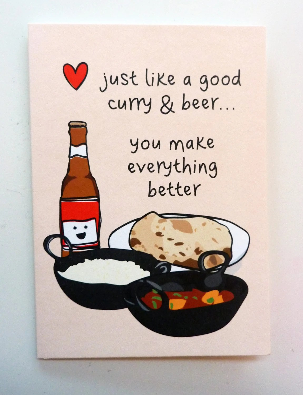 Funny Indian Food Inspired Greetings Card Curry Amp Beer