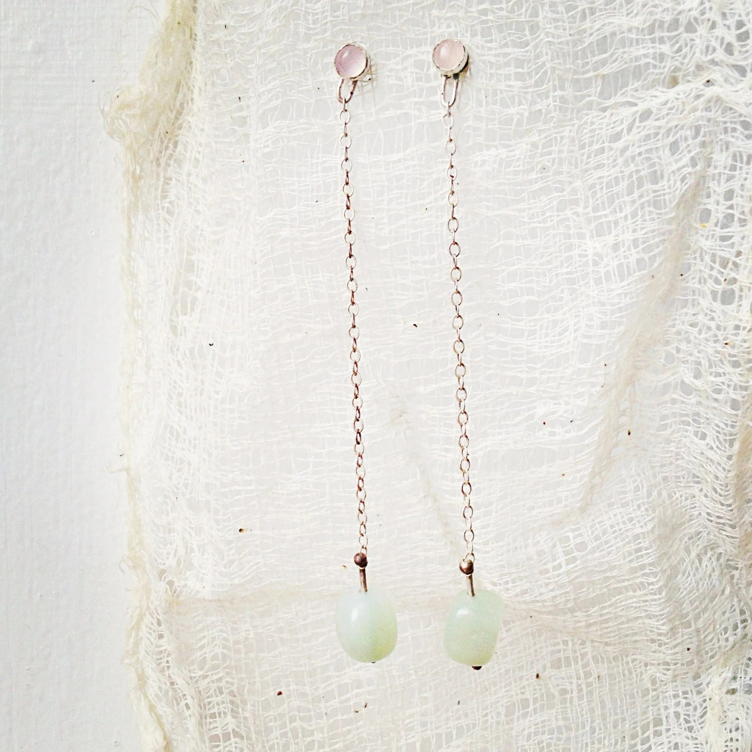 rose quartz and serpentine drop earrings by lovinganvil