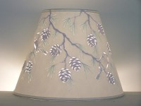 Reverse painted Pine Cone & Chickadee Lampshade Lampshade