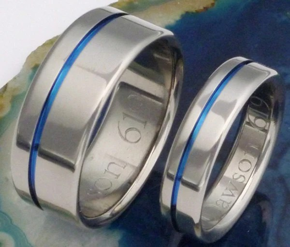 Original Thin Blue Line Titanium Wedding Band Set Matching