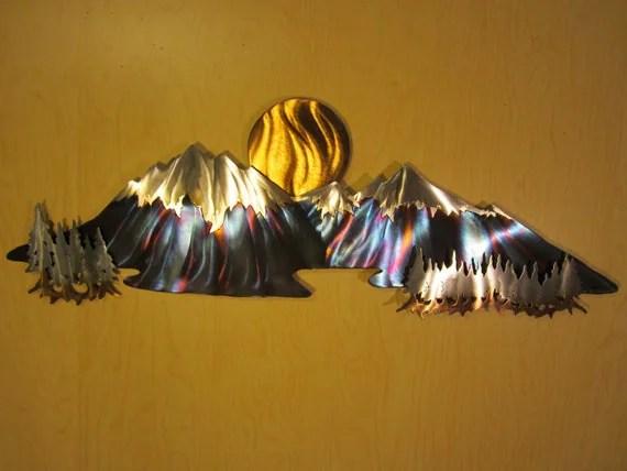 Mountain Tree Trees Sun Moon Metal Wall Art By