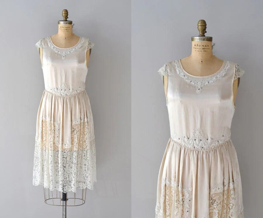 Vintage 1920s Dress / Silk 20s Wedding Dress / Toujours