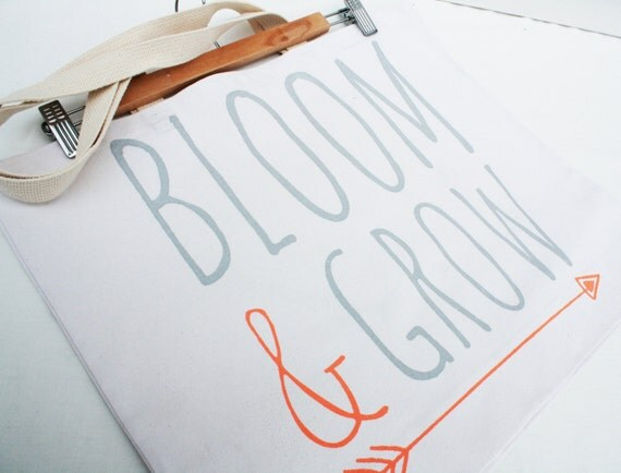 Bloom and Grow - screen print, recycled grocery, shopping, everyday tote