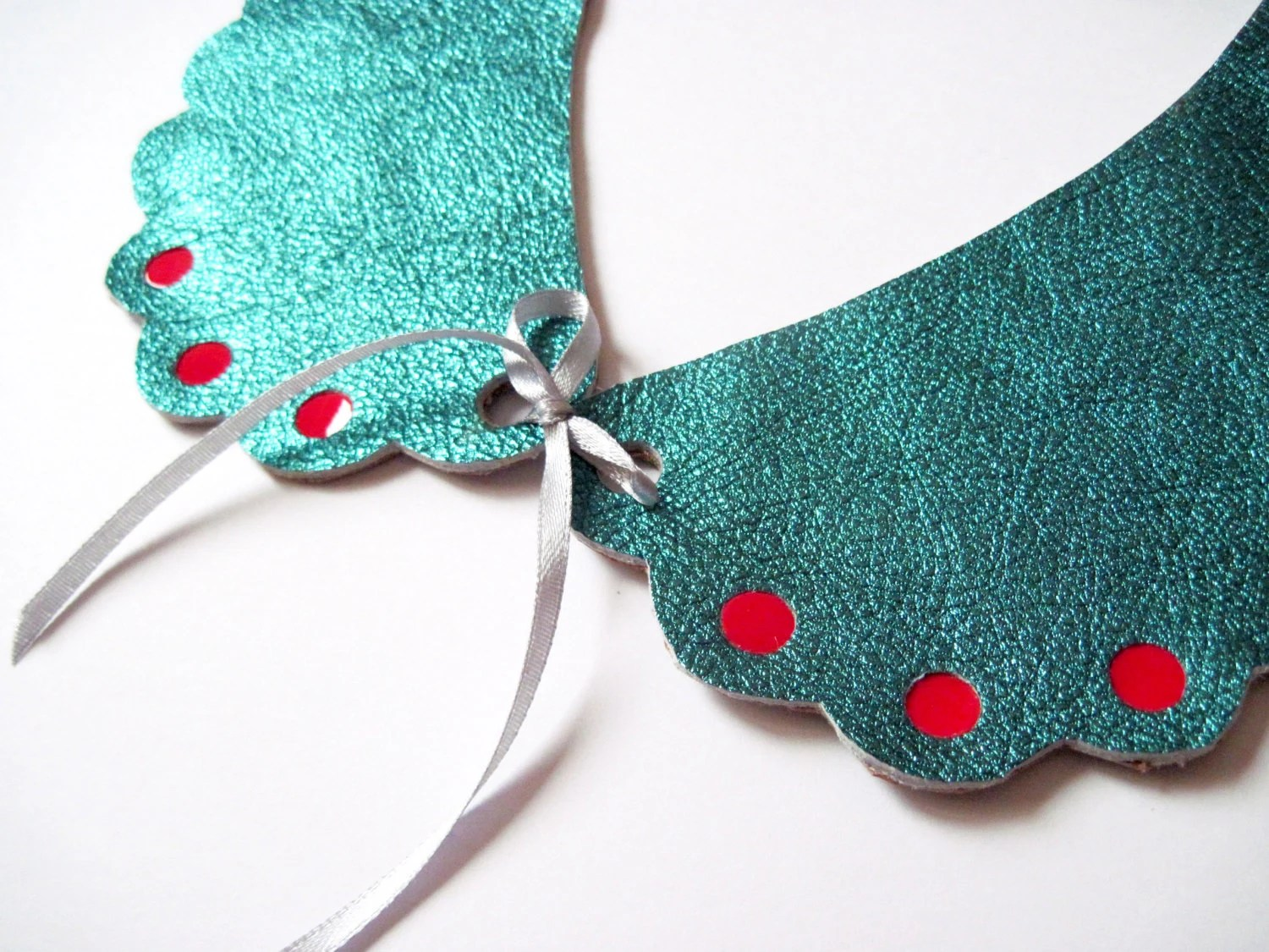 Peter Pan Style Leather Collar in Metallic Turquoise - maycily