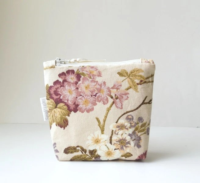 Beige Floral Cotton Coin Purse - SeaPinks