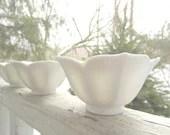 Vintage White Lotus Bowls set of 3 - corrnucopia