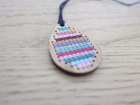 Striped Cross Stitch Drop Pendant Necklace