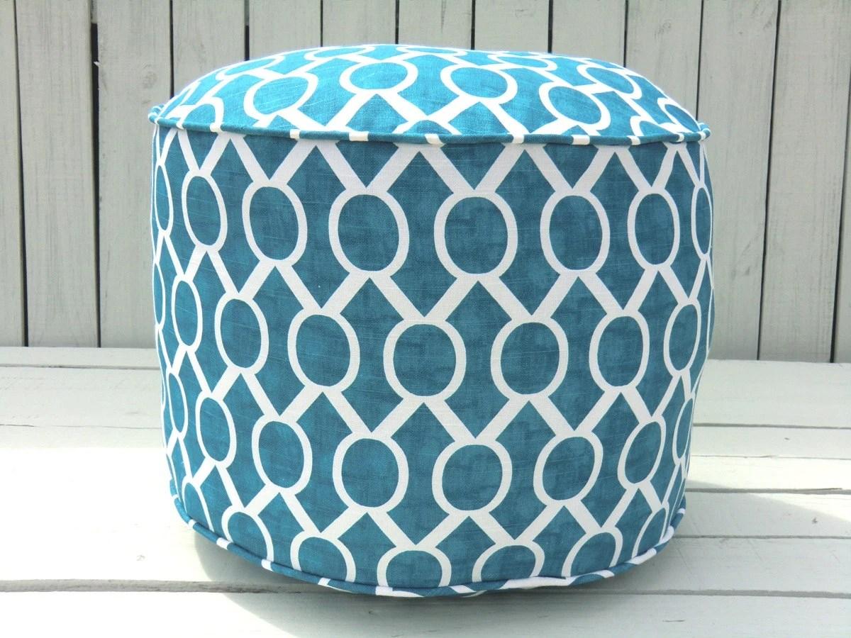 teal bean bag chair eaze lounge turquoise pouf ottoman 18 round trellis by