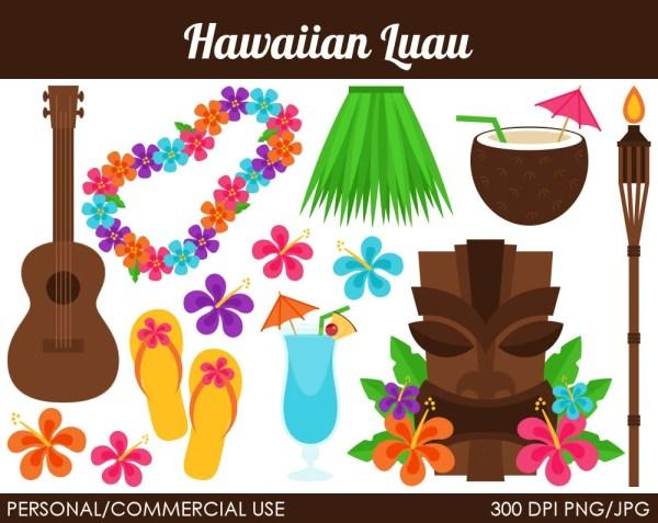 hawaiian luau clipart digital clip