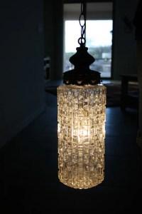 Vintage Hanging Light Fixture Swag Glass Bronze Bathroom