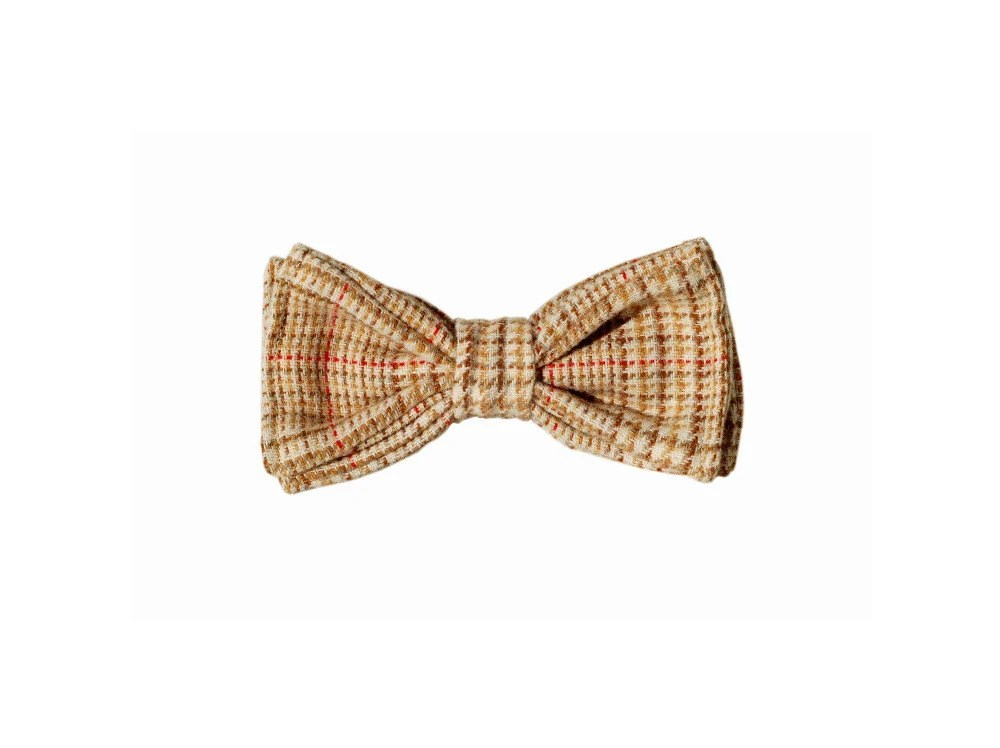 Chic Houndstooth Beige with Brown and Red Bow Tie - morion