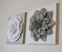 TWO Wall Flowers Gray Dahlia on White and White Rose on Gray