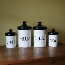 Vintage Black And White Ceramic Canister Set Holiday Design