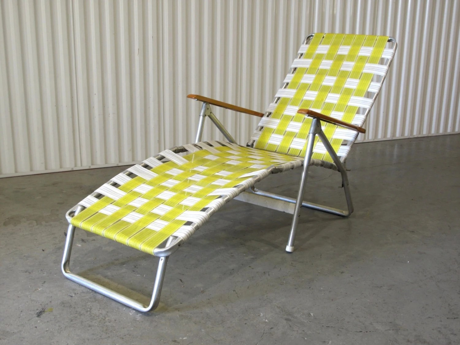 1960s Webbed Lawn Chair Folding Beach Chair Lounge by