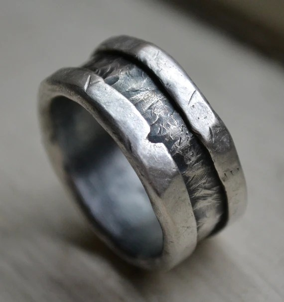 mens wedding band fine and sterling silver ring handmade