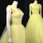 Vintage 1950s Ball Gown Yellow Prom Dress