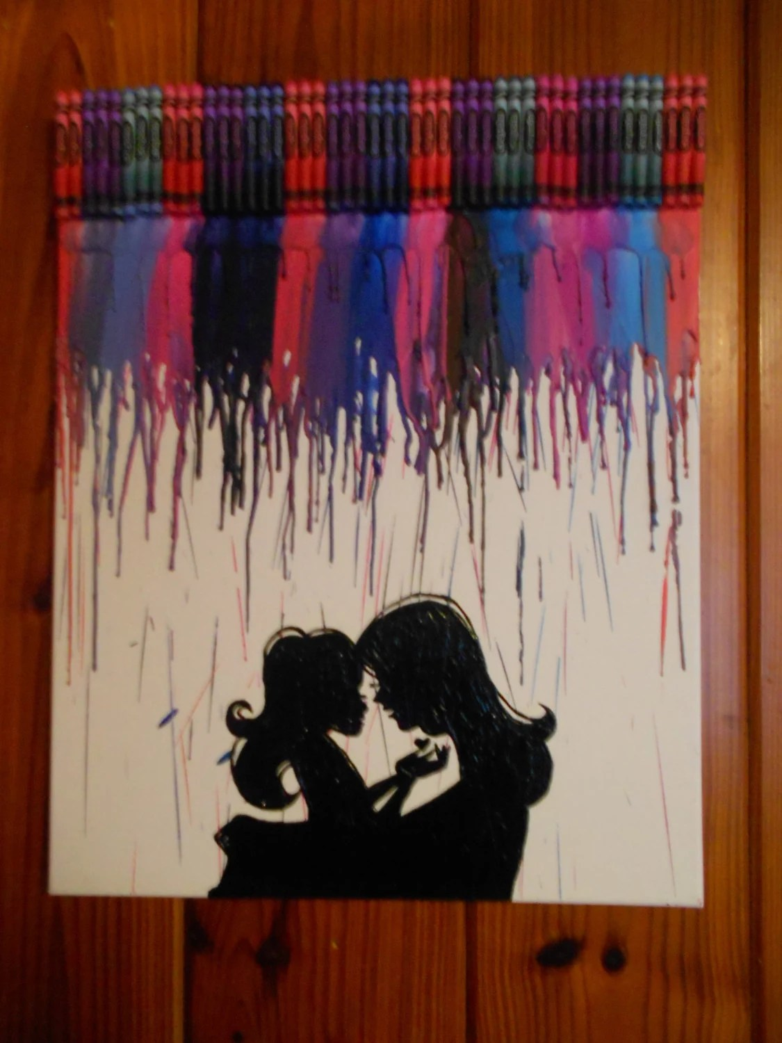 Happy Mother's Day Melted Crayon Painting Mother And