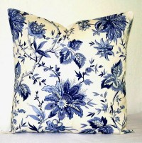 Navy Blue and White Floral 18 inch Decorative Pillows Accent