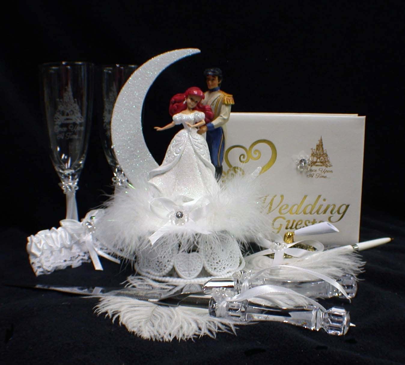 Disney Little MERMAID Wedding Cake Topper Lot Glasses Knife