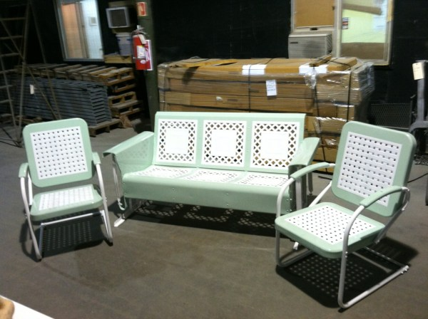 Vintage Metal Porch Glider Set With Chairs