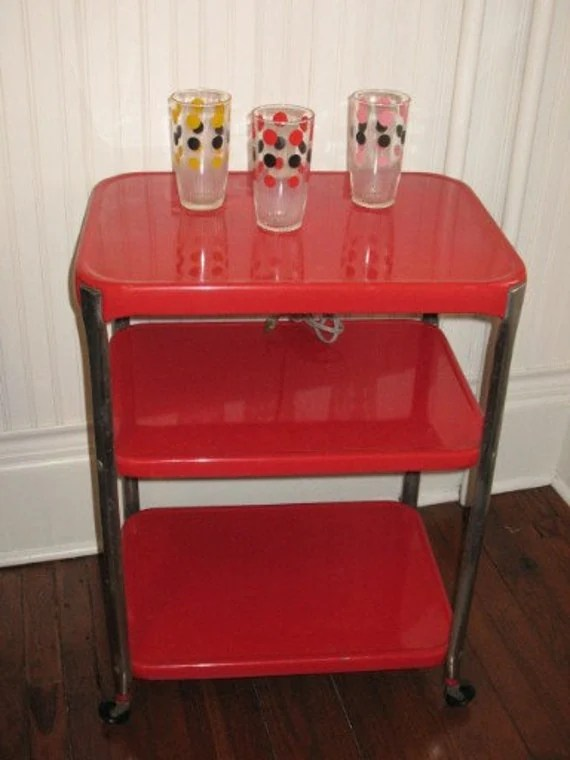 Vintage COSCO 3 Tier Rolling Metal Cart Utility Cart Red