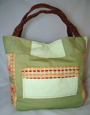 Upcycled Green Checker Tote