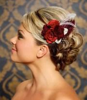 red bridal hair clip fascinator