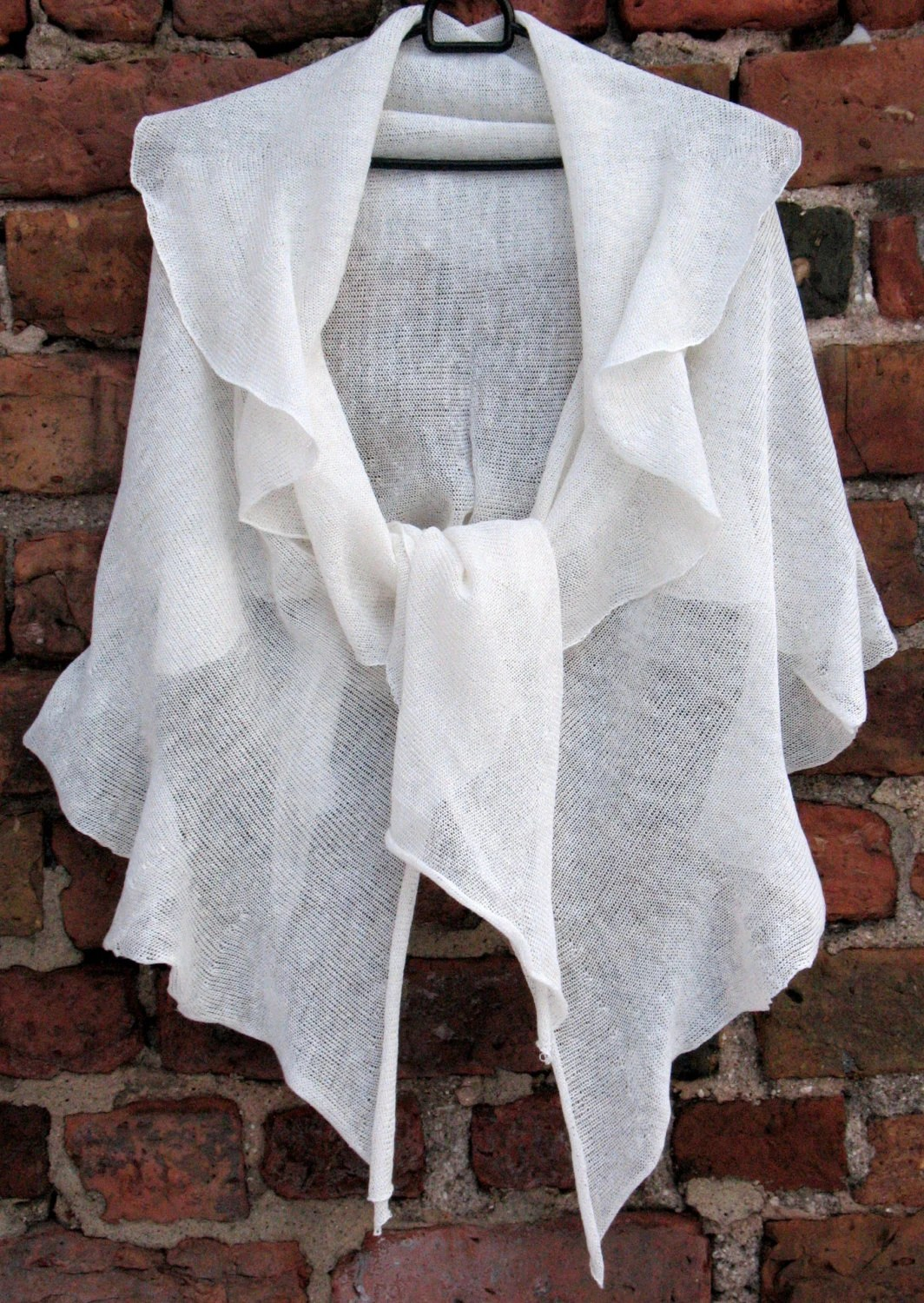 White Linen Scarf Shawl Wrap Stole Light by Initasworks on Etsy