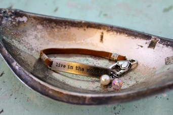 "Leather Bracelet Stamped Quote ""Live in the Moment"" with Pearl and Crystal"