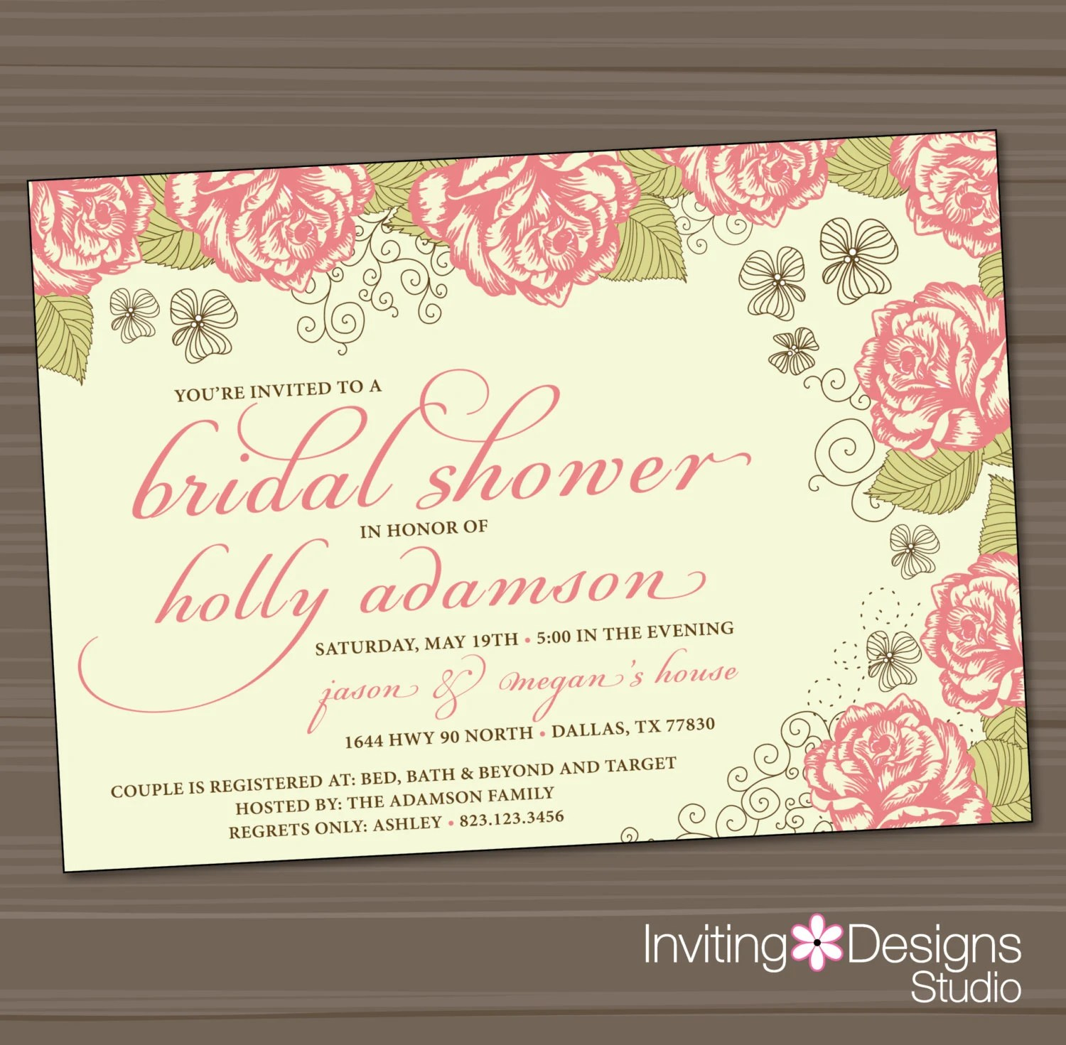 Bridal Shower Invitation Rose Garden Wedding Shower
