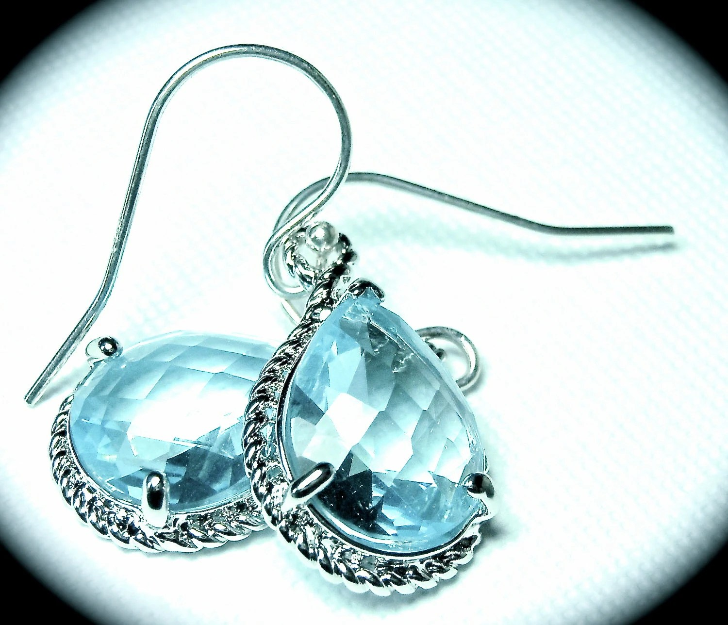 Aquamarine earrings - Czech glass - Sterling silver  - March Birthday - Bridal jewelry - gift -