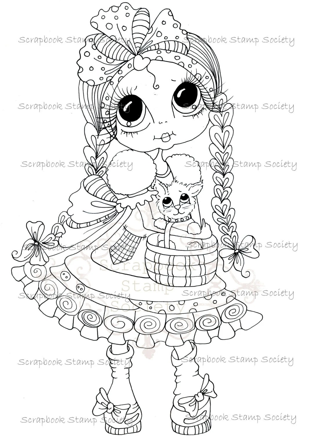 INSTANT DOWNLOAD Digital Digi Stamps Big Eye Dolls Digi