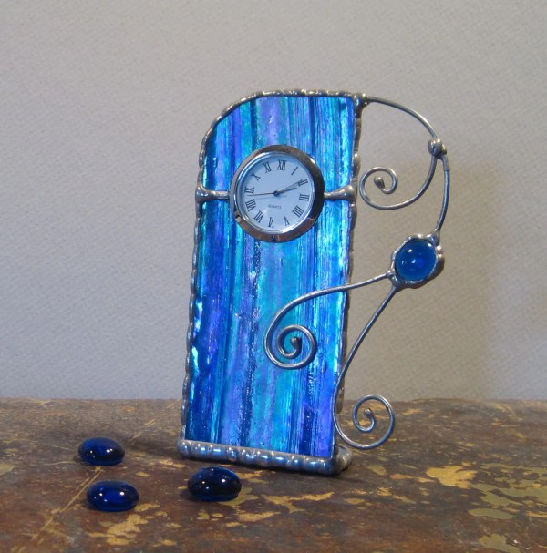 Unique Stained Glass Desk Clock Cobalt With Purple Eclectium