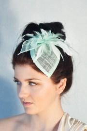 mint green bridal hat headpiece
