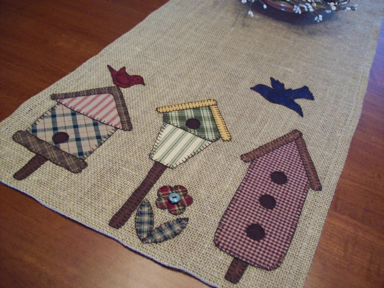 Rustic Plaid Bird Houses Burlap Table Runner