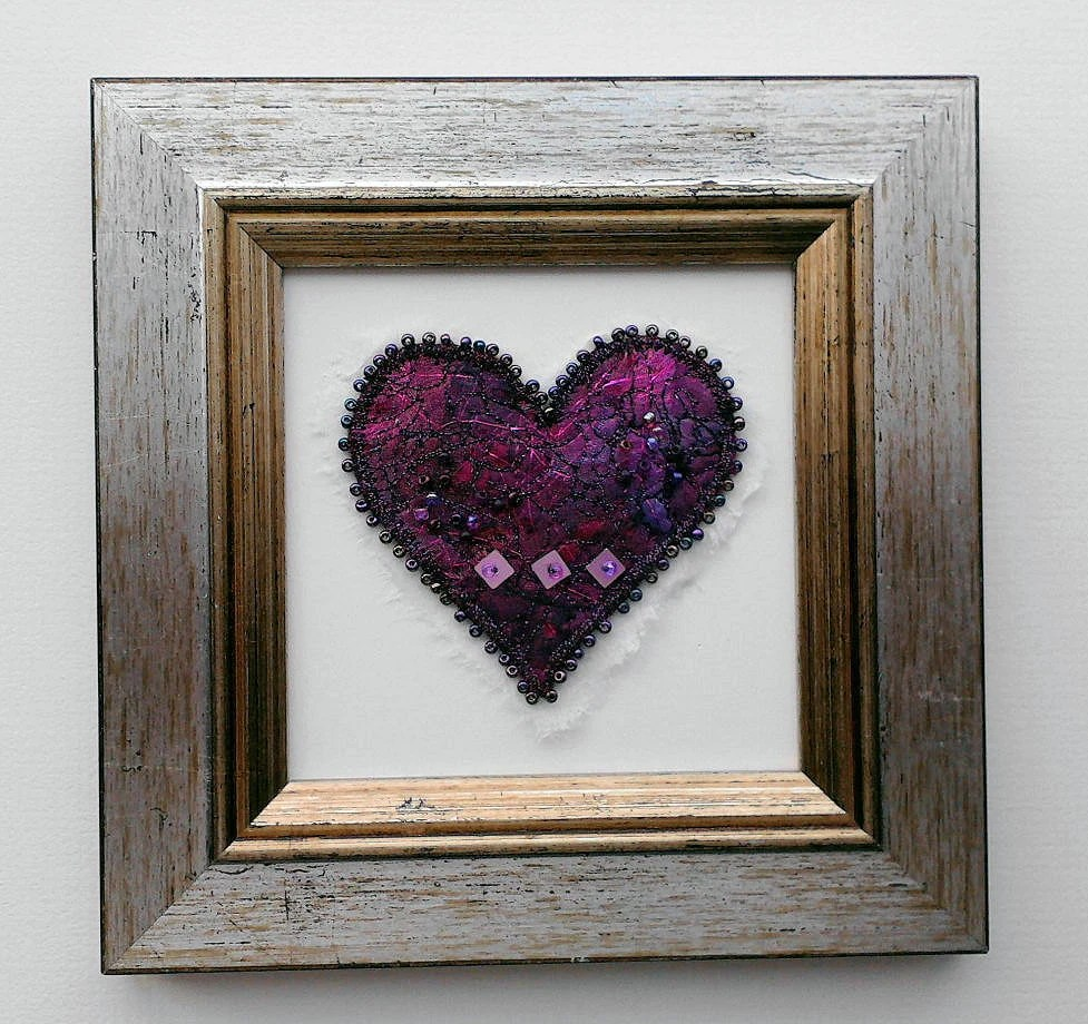 EMBROIDERED HEART PICTURE dark pink and maroon beaded and stitched in silver and gold coloured frame
