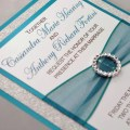 Teal and silver glitter wedding invitation full of by invitebling
