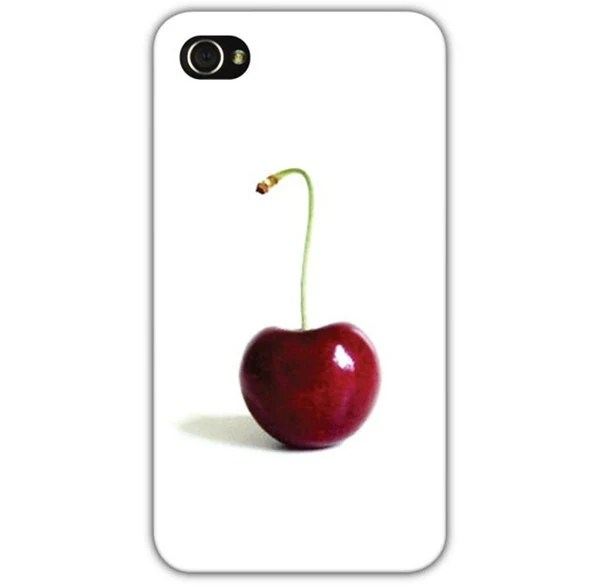 iPhone Case Cherry Photo White Red Fits 4 and 4s Original - 132Photography