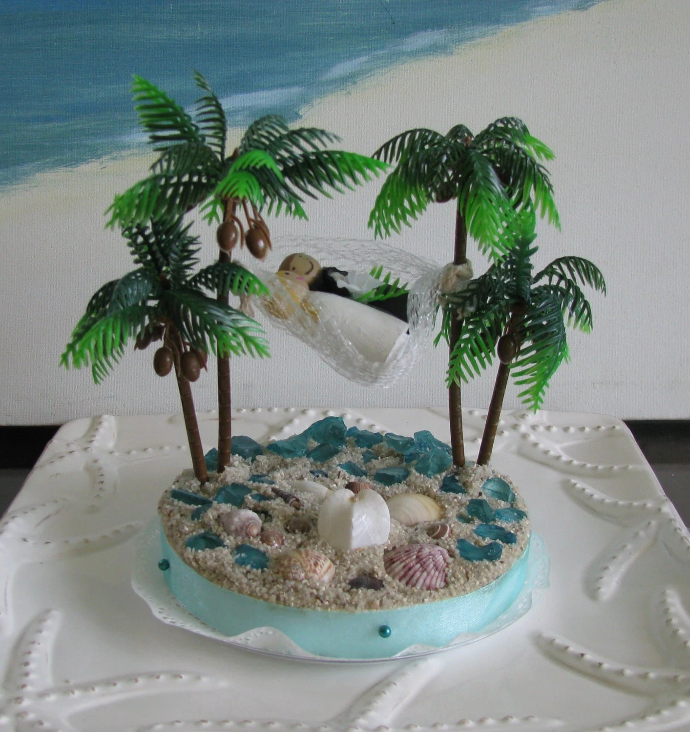 adirondack chair reviews storage box hammock palm trees beach wedding cake topper-seashell